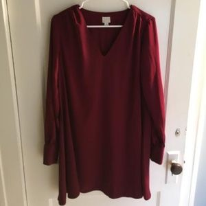 Red Long Sleeve V-Neck Mini Dress
